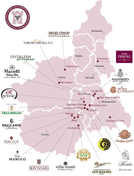 La mappa delle distillerie di Istituto Grappa Piemonte.